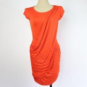 BCBGMAXAZRIA Orange Drape Dress - Q31